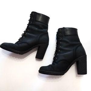 Timberland Tillston black heeled combat boots sz 7